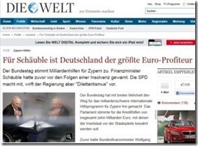 Segundo Wolfgang Schauble - Alemanha é quem mais aproveitou o Euro. Abr. 2013
