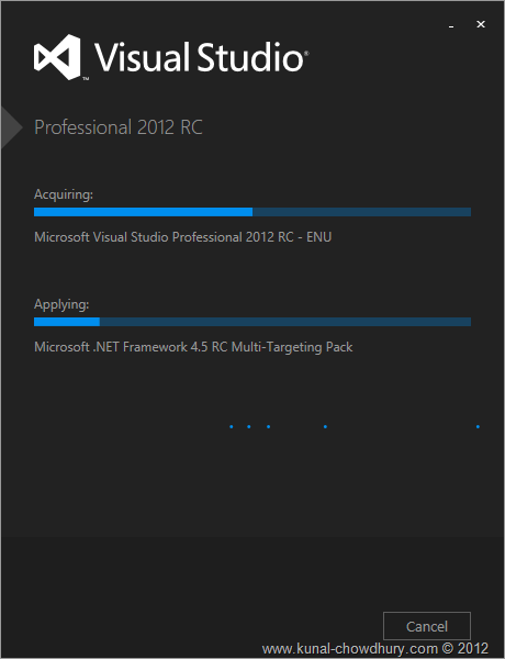 VS2012 Installation Experience - Screen 3 - Installing Visual Studio 2012 RC
