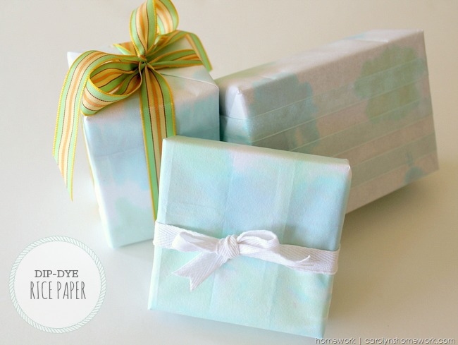 Dip Dye Rice Paper Gift Wrap via homework | carolynshomework.com