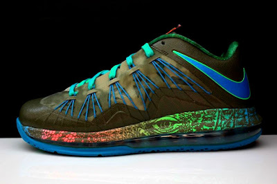 nike lebron 10 low gr black turquoise blue 2 10 Additional Look at Nike LeBron X Low Tarp Green