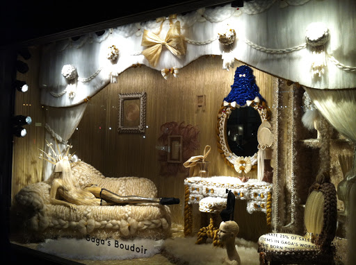 This is Gaga's Boudooir. Hair and bows along with lush fabrics made up this window.