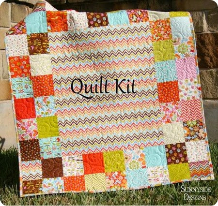 aqua and coral quilt kit