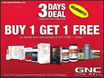 GNC Livewell Buy 1 Free 1 Promotion Deal July 2013 All Discounts Offer Shopping EverydayOnSales
