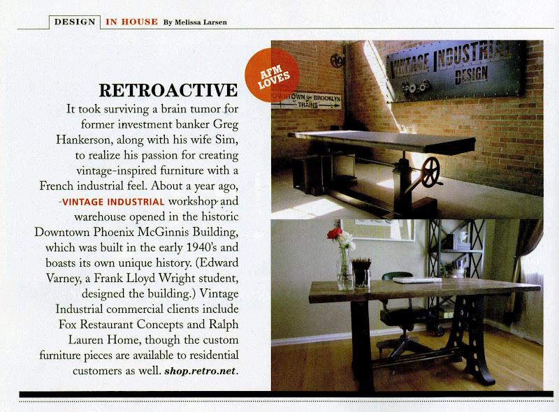 Press vintage industrial furniture for Design source furniture az
