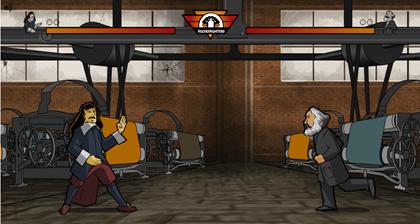 Filosofighters - jogo de luta onde você duela com alguns dos principais filósofos da humanidade [Aqui vê-se o duelo Descartes x Marx]
