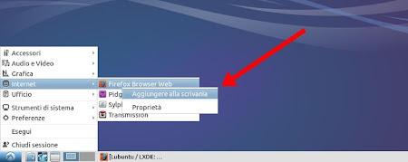 Lubuntu 14.04 - aggiungi alla scrivania