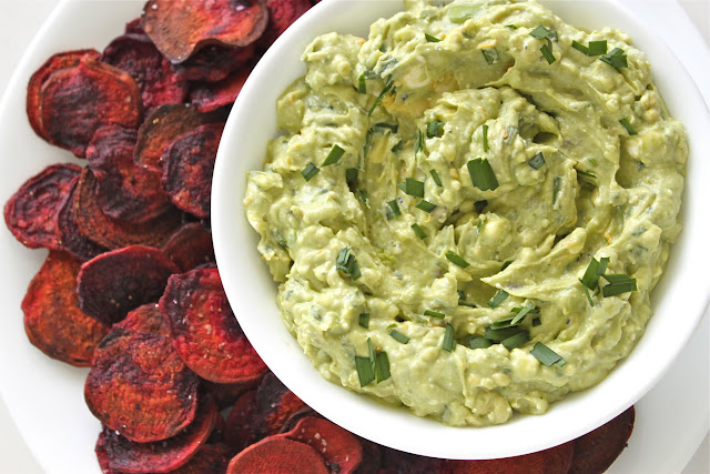 Roquefort-Avocado Dip + Beet Chips