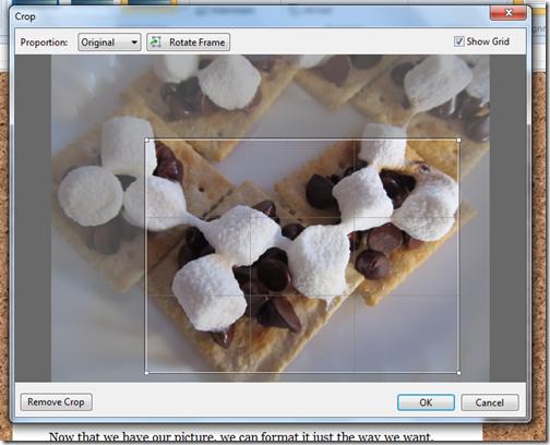 livewriter picture format toolbar crop window crop