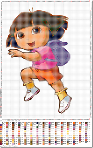 gratis infantil ponto cruz da Dora