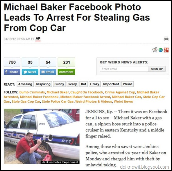 Facebook Post Leads to arrest