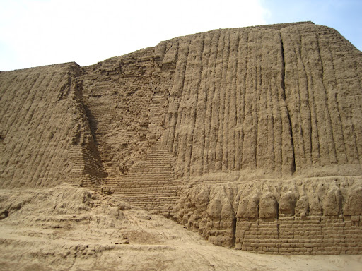 The massive Moche temple of Huaca del Sol, partly destroyed by the elements and Spanish looters