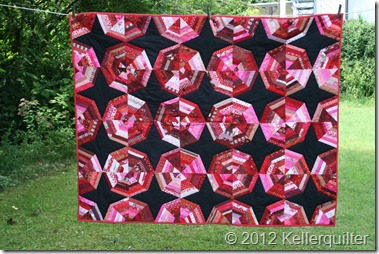 Quilt011-Spiderweb in Rot