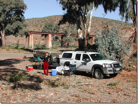 Lunch in a creek bed south of the coal mining town of Leigh Creek in northern South Australia