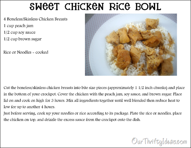 Our Thrifty Ideas: Sweet Chicken Rice Bowl