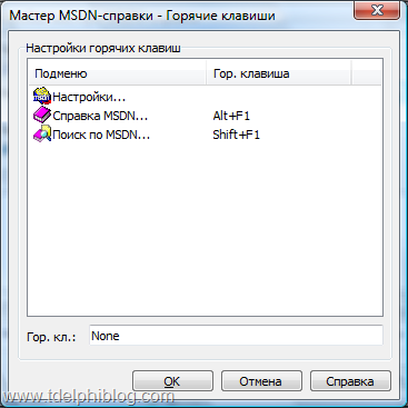 Настройка горячих клавиш Мастера MSDN-справки