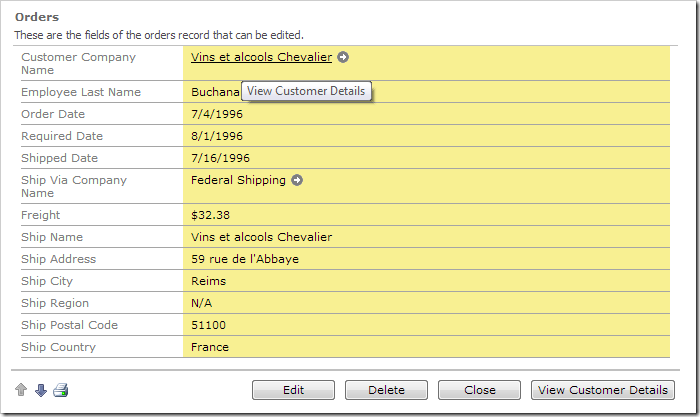 Orders form with Customer Company Name formatted as a hyperlink.