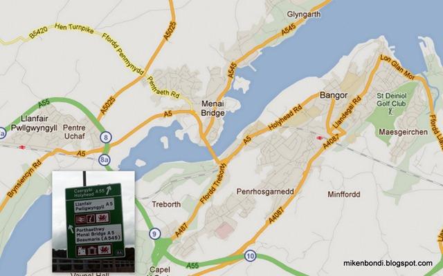 Llanfairpwll and Bangor