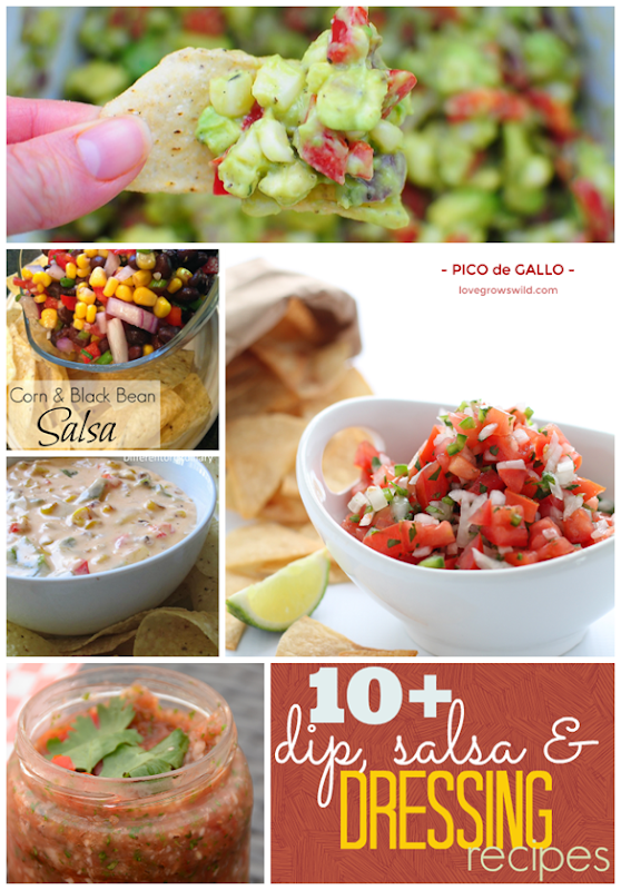 Over 10 Dip, Salsa & Dressing Recipes at GingerSnapCrafts.com #recipes #dips #salsa #linkparty #features