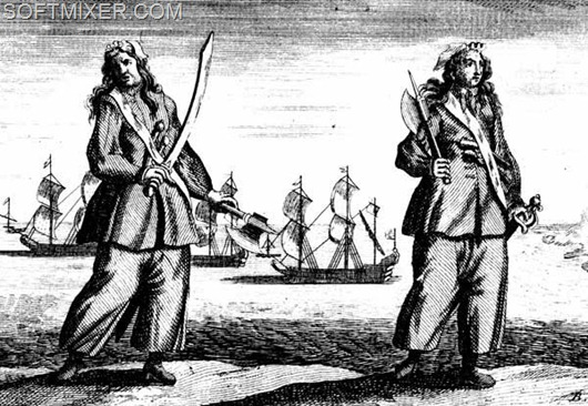 PIRATES, 1724.  'Pirates Ann Bonny and Mary Read convicted of piracy, 28 November 1720, at a Court of Vice Admiralty held at St. Jago de la Vega in island of Jamaica.' Line engraving, English, 1724.