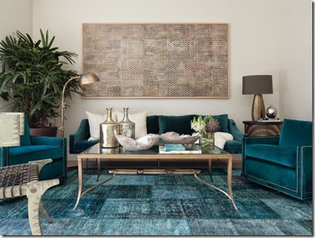 Teal-blue-overdyed-rug-in-an-eclectic-living-room