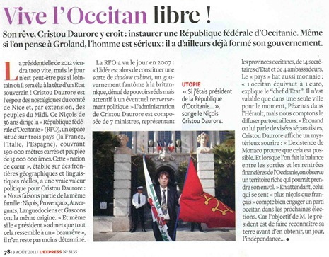 Govèrn Provisòri Occitan dins l'Express 030811