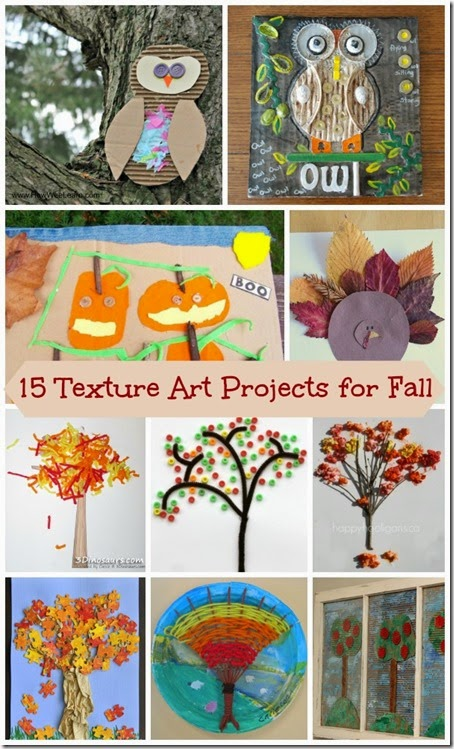 15 Textured Art Projects for Kids - These are such clever projects, crafts for kids, kids activities for fall preschool, prek, kindergarten, first grade and other fall activities