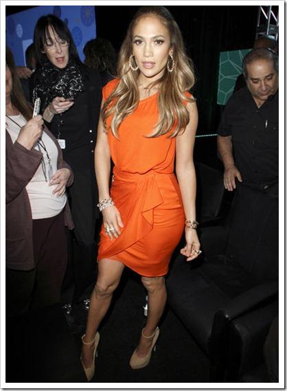 jennifer lopez vestido naranja