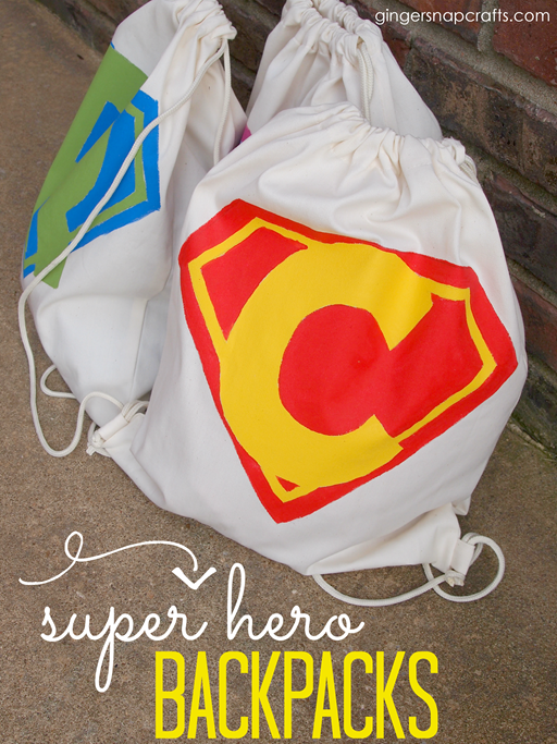 Super Hero Backpacks at GingerSnapCrafts.com #superhero #backpack #fabricpaint #tutorial