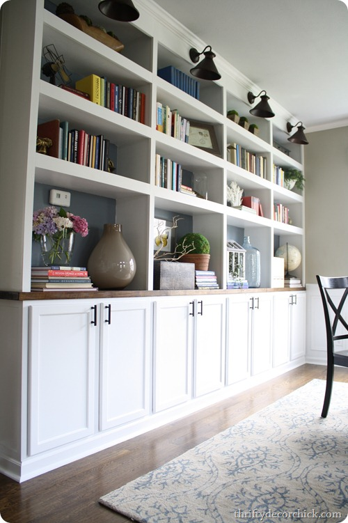 DIY built ins using cabinets as bases