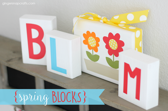 Spring Blocks with vinyl from Happy Craters #spring #decor