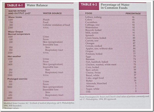 Water Balance and Water Percentage in Foods Table