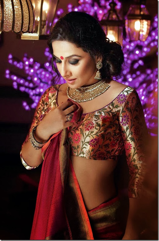 Vidya Balan Red Hot Navel Photoshoot From Hi BLITZ Magazine October 2013