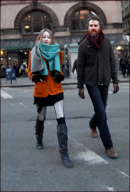 wm knee high boots burnt orange coat blue scarf ol