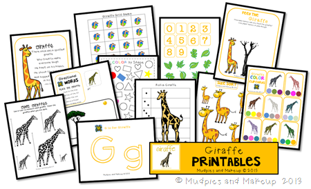 Giraffe Preschool Printable Pack FREE