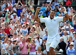 Jo-Wilfried Tsonga became the first player to overturn a two-sets deficit and beat Roger Federer in Grand Slam action.