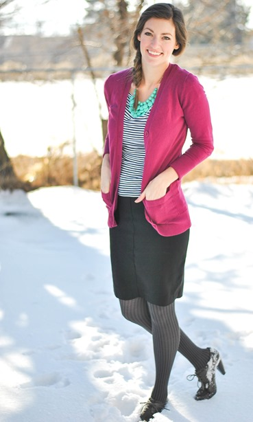 Black pencil skirt + striped top + long cardigan + statement necklace