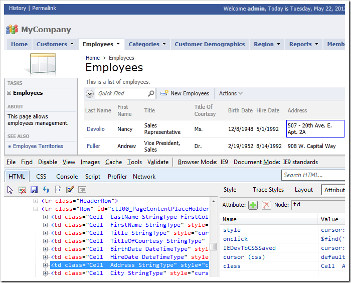 Select the first cell underneath the Address column on the Employees page of the Code On Time web application.