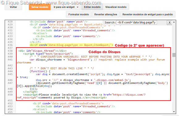 Código do Disqus - Blogger