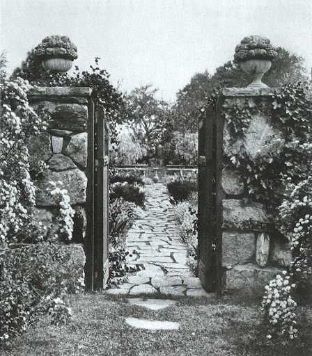 This lovely garden walk and stone gates can be found in Hingham, Massachusetts.  It was created by a female architect, Elizabeth Leonard Strang, which is astounding given the time period!