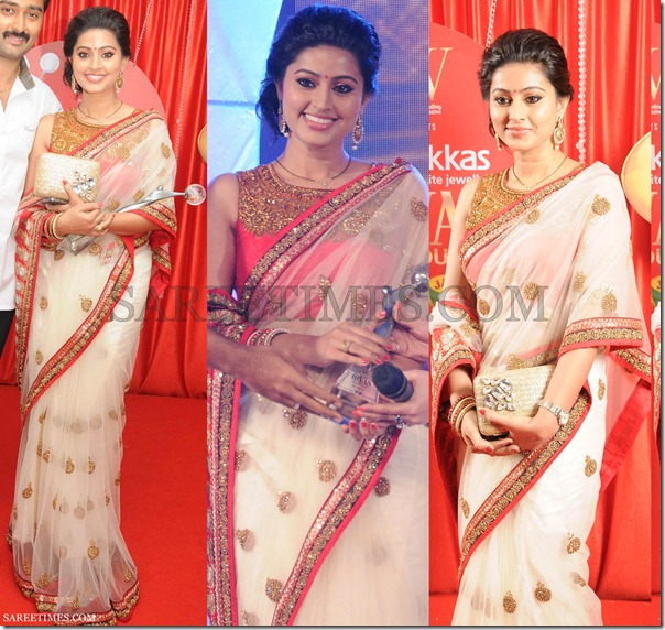 Sneha_White_Georgette_Saree