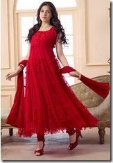 Buy Fabfiza Net Brasso Red Semi Stitched Anarkali Suit at Rs.719 only
