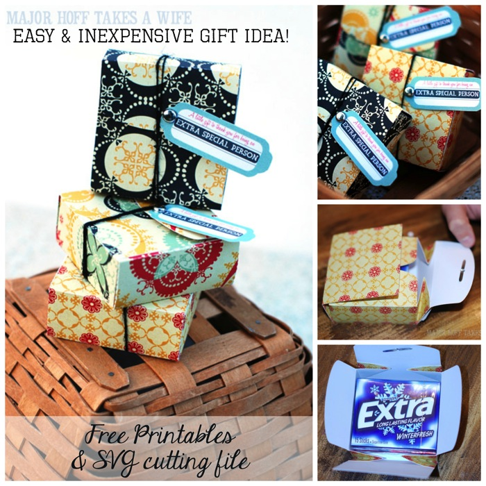 Easy and inexpensive gift idea using SVG file free printables and Extra Chewing gum
