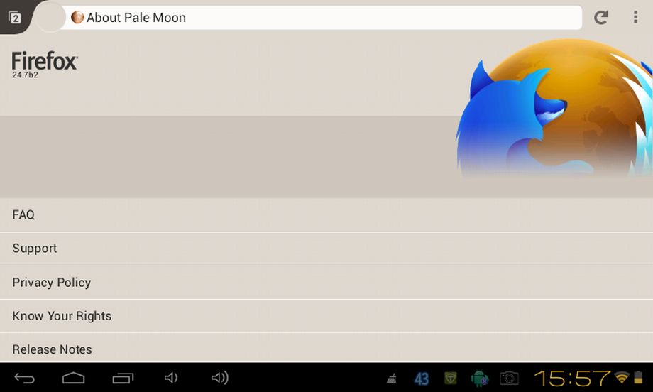 Pale Moon in tablet Android