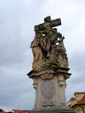 One of the many statues on Charles Bridge