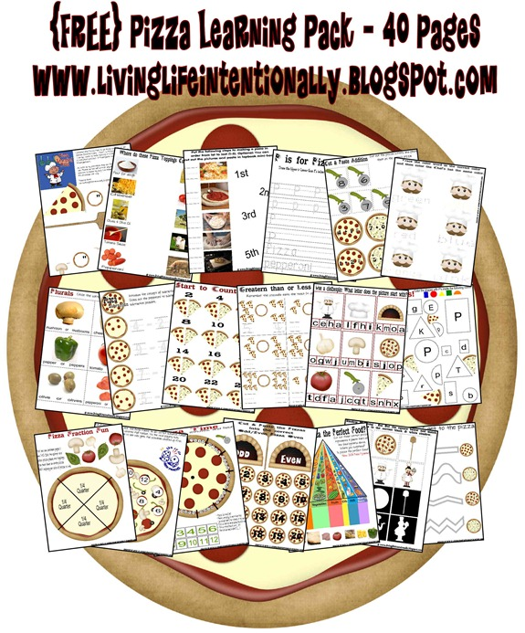 FREE Pizza Learning Pack - 40 pages of pizza themed learning about shapes, colors, fractions, graphs, telling time, counting by 2s, addition, plural words, story comprehension, syllables, subtraction, sentence structure, prewritting, and more. Great for toddler, preschool, prek, kindergarten, first grade, 2nd grade, 3rd grade, adn 4th grade students.