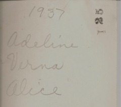 Adeline Verna Alice 1937 back