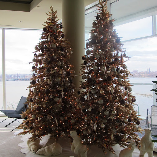 The completed trees with the Hudson River behind them.