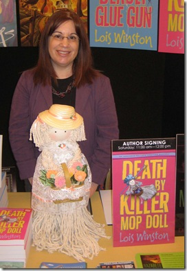 Lois Winston and mop doll