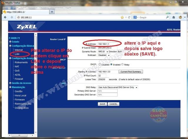 5 - Para alterar o IP do modem - Modem ADSL ZyXEL P-660R-T1 v3s, configurar e rotear para conectar automaticamente na Oi – Velox - Witian blog