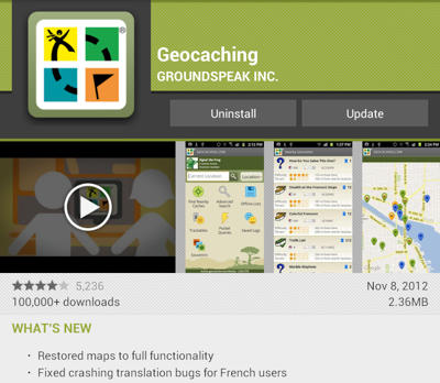 Geocaching 2.5.1 for Android II